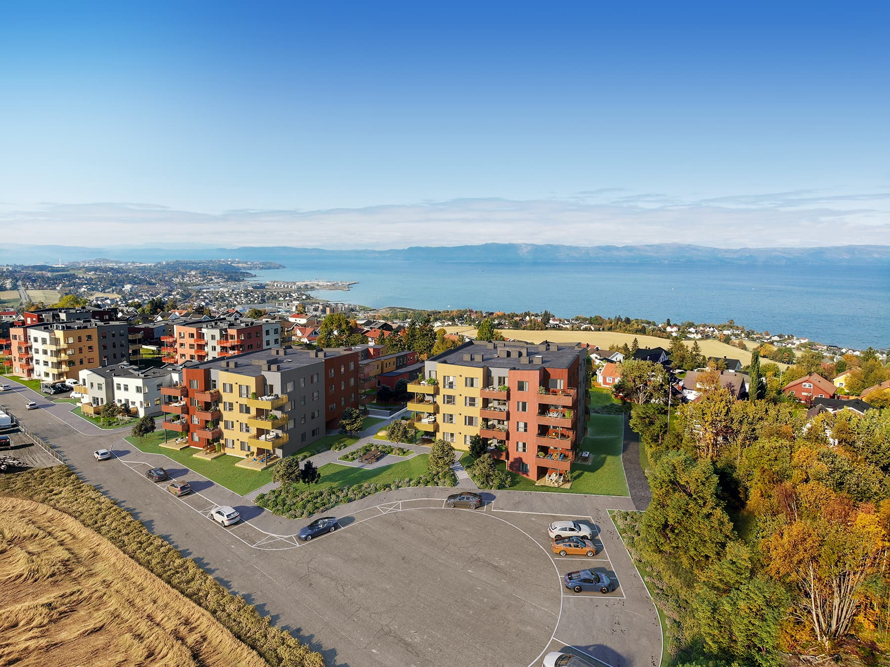 Reppetoppen. Dronebildet over området og utsikt mot fjorden i bakgrunnen. 3D-illustrasjon.