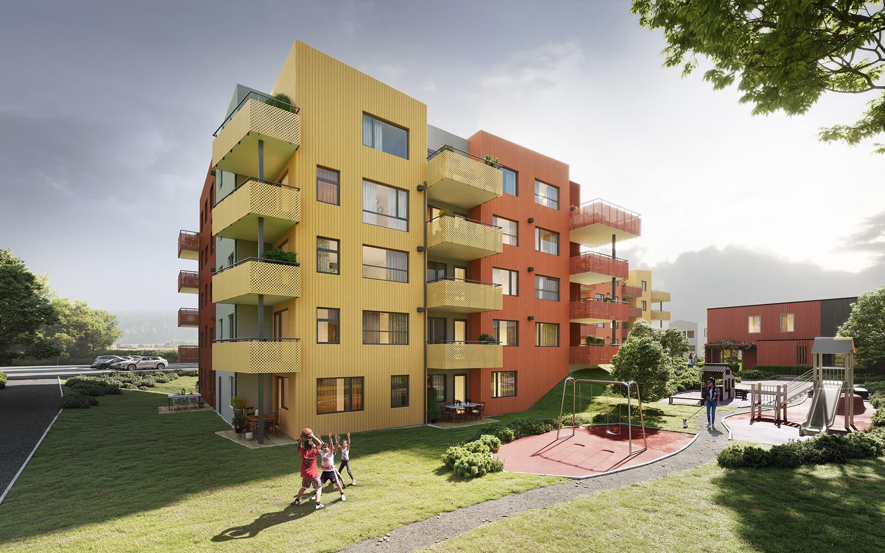 Fasadebilde av blokk C2 på byggetrinn 6 på Reppetoppen. Sett fra nord, med lekeplass og barn som leker i forgrunnen. 3D-illustrasjon.