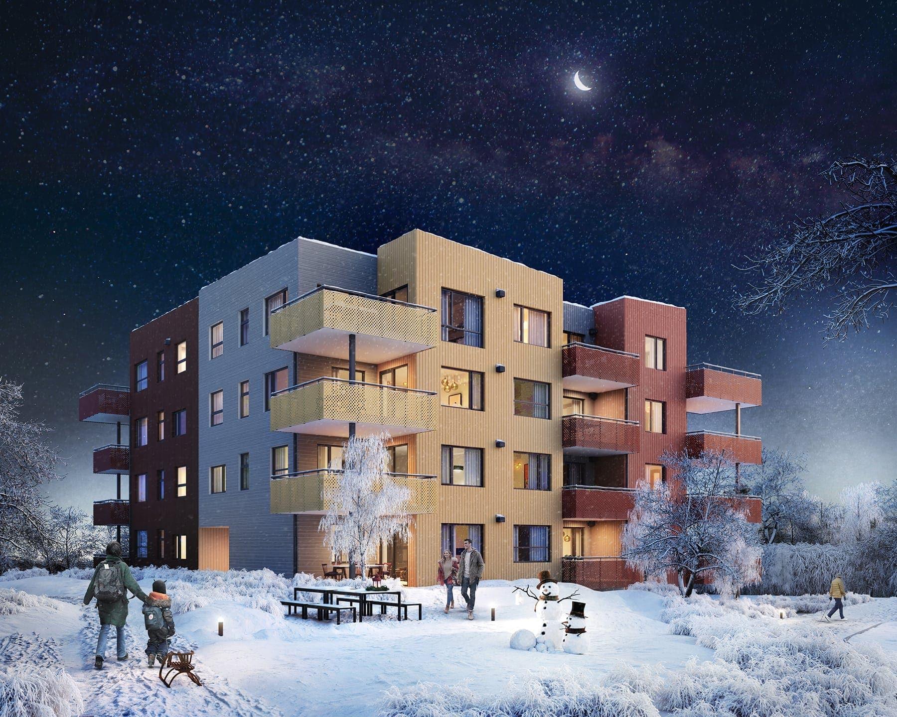 Blokk C2 sett fra sør. Kveldshimmel og vinterstemning. Illustrasjon.