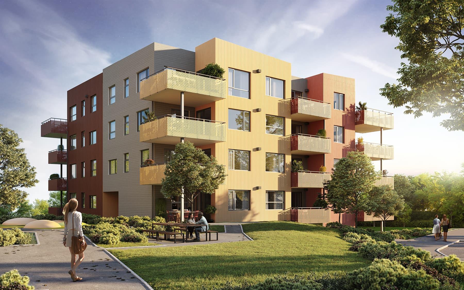 Fasadebilde av blokk C2 på byggetrinn 6 på Reppetoppen. Ettermiddagssol sommerstemning. 3D-illustrasjon.