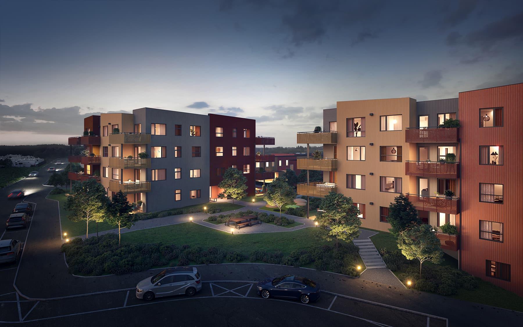 Eksteriørbilde av de to blokkene i byggetrinn 6 på Reppetoppen. Kveldsstemning. 3D-illustrasjon